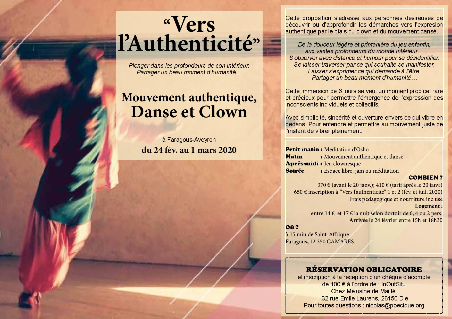Vers l'authenticité! Clown et mouvement authentique